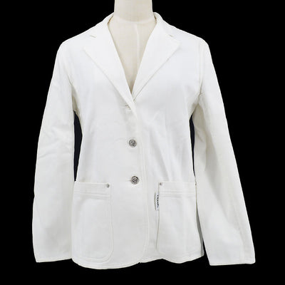 CHANEL 04210 38 Single Breasted Jacket White