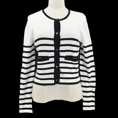 CHANEL #38 Striped Front Opening Cardigan White