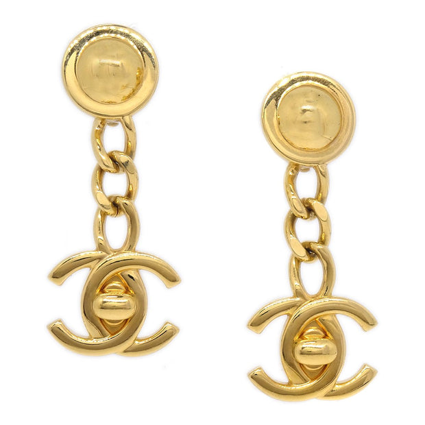 CHANEL Turnlock Charm Shaking Earrings Clip-On Gold 96A