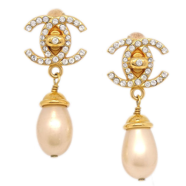 CHANEL Turnlock Imitation Pearl Shaking Earrings Clip-On Rhinestone 96A