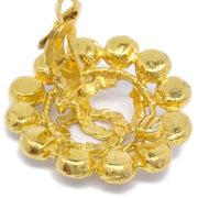 CHANEL Rhinestone Earrings Clip-On 29 Gold