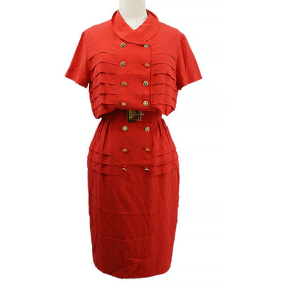 CHANEL 89 #36 Short Sleeve One Piece Skirt Red