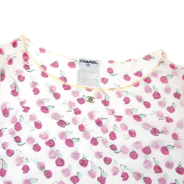 CHANEL 99S #38 Floral Pattern Short Sleeve Mesh Tops White