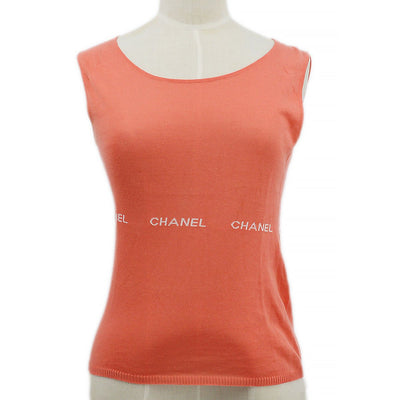 CHANEL 04P #34 Round Neck Sleeveless Knit Tops Pink