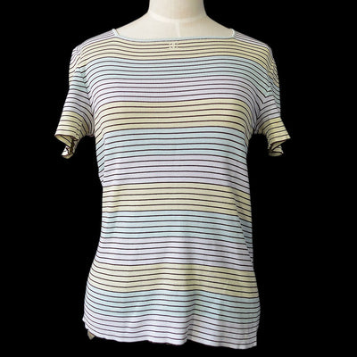CHANEL #44 Striped Short Sleeve Knit Tops Multi Color