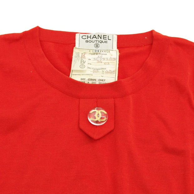 CHANEL 28 #34 Round Neck Sleeveless Tops Red