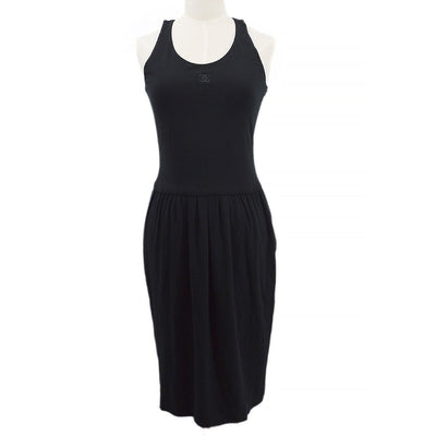 CHANEL 94P #38 Sleeveless Dress One Piece Skirt Black
