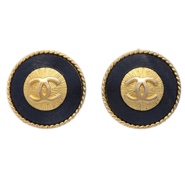 CHANEL Button Earrings Gold Black Clip-On 93A