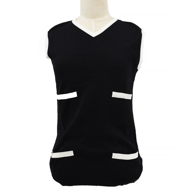 CHANEL 96P #40 V-Neck Sleeveless Tops Black