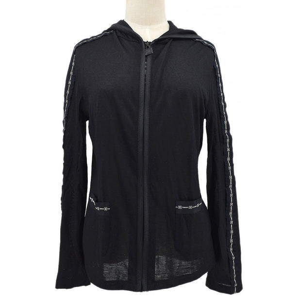 CHANEL 07A #44 Sports Line Hoodie Zip-up Sweat Black
