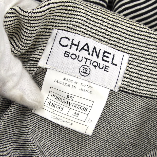 CHANEL 97C #38 Striped Short Sleeve Tops Gray