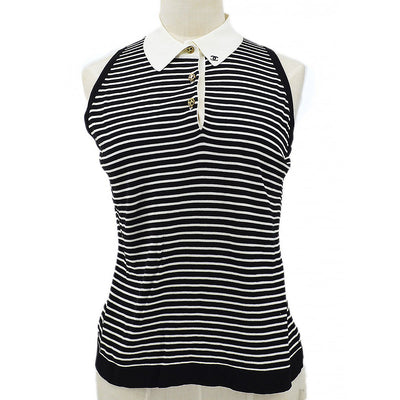 CHANEL #42 Striped Sleeveless Knit Tops Black