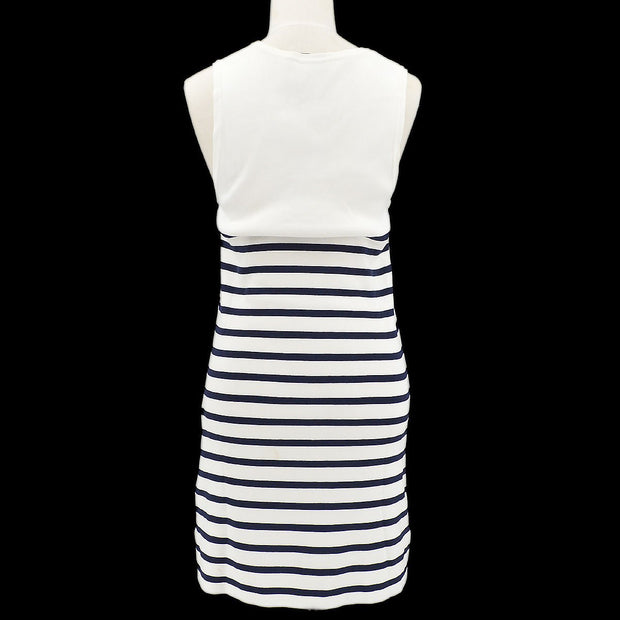 CHANEL #40 Striped Sleeveless Knit One Piece Dress White Navy