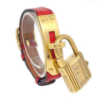 Hermes Kelly watch Ladies Quartz Wristwatch Watch Lizard Red