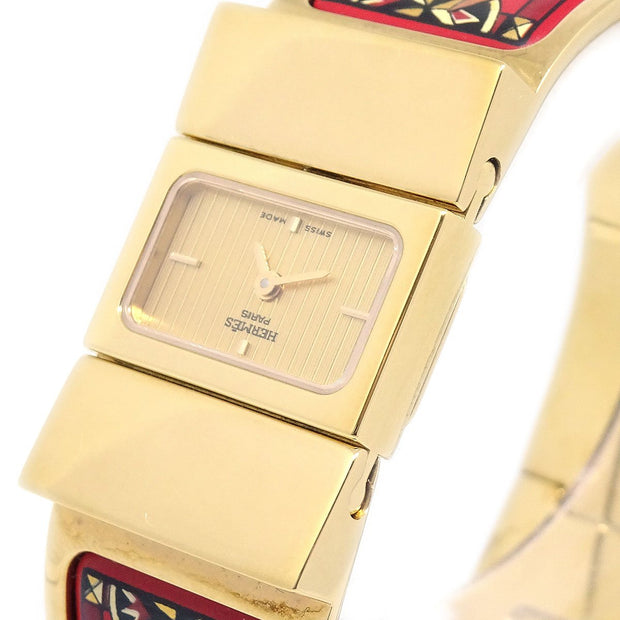 Hermes Loquet L01.201 Ladies Quartz Wristwatch Watch Cloisonne Ware