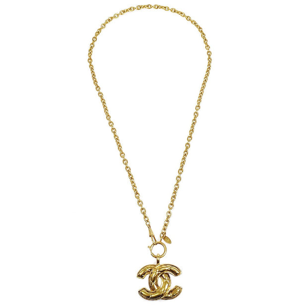 CHANEL Quilted Gold Chain Necklace 3858