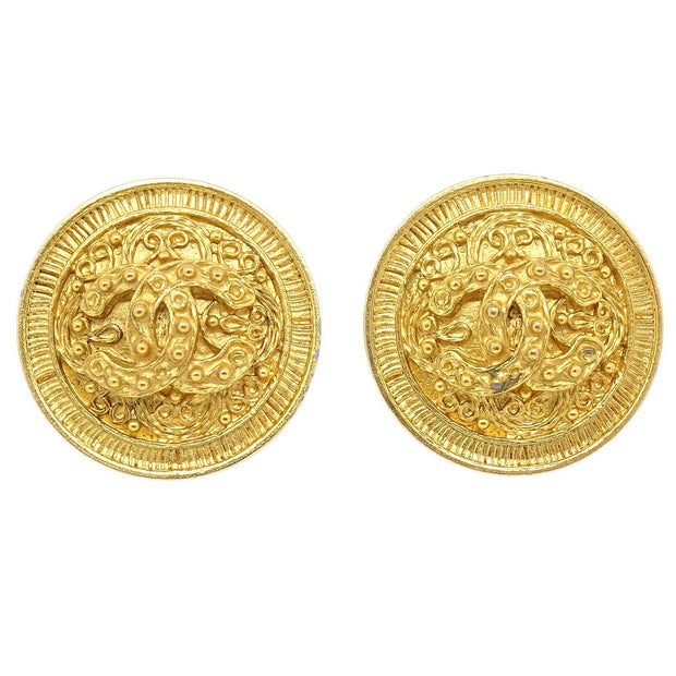 CHANEL Button Earrings Gold-Tone Clip-On 94A