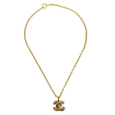 CHANEL Quilted Gold Chain Necklace 3383