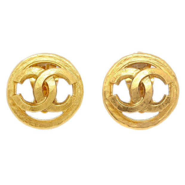 CHANEL Button Earrings Gold-Tone Clip-On 94P