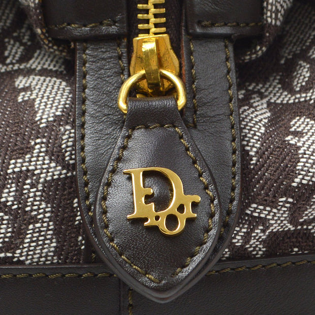 Christian Dior Trotter Pattern Hand Bag Brown
