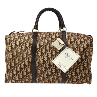 Christian Dior Trotter Pattern Duffle Hand Bag Brown