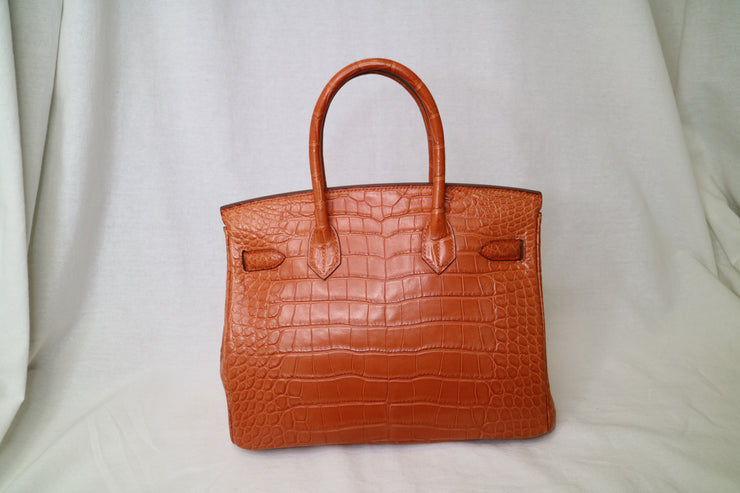 HERMES BIRKIN 30 Hand Bag Tangerine Orange Matt Alligator