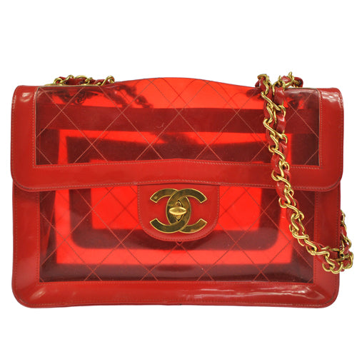 CHANEL Quilted Classic Flap Maxi Shoulder Bag Red Vinyl