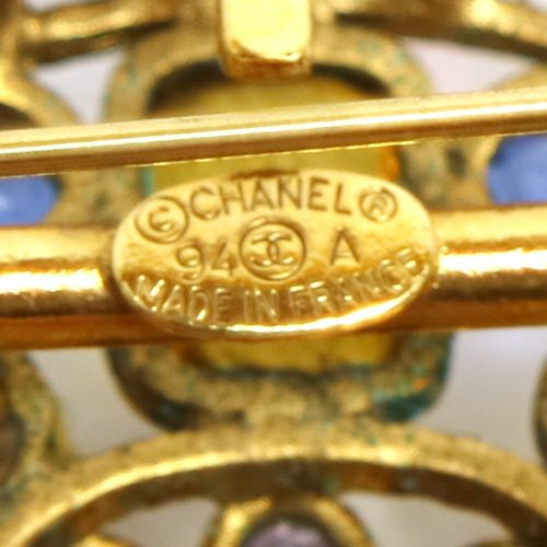 CHANEL Stone Brooch Gold