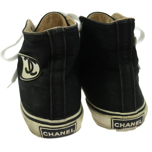 CHANEL Vintage CC Logos Sneakers Shoes Black Canvas #37