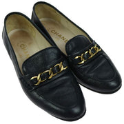 CHANEL Vintage CC Logos Loafer Shoes Navy Leather #35 1/2