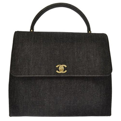 CHANEL CC Logos Hand Bag Black Gold Denim