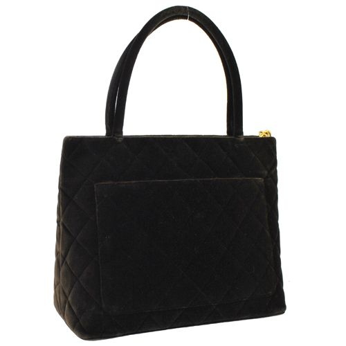 CHANEL CC Logos Shoudler Tote Bag Brown Velvet