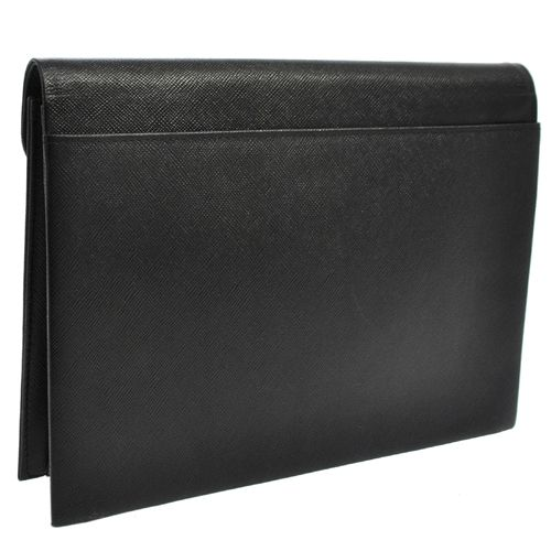 YVES SAINT LAURENT Logos Clutch Hand Bag Black Leather