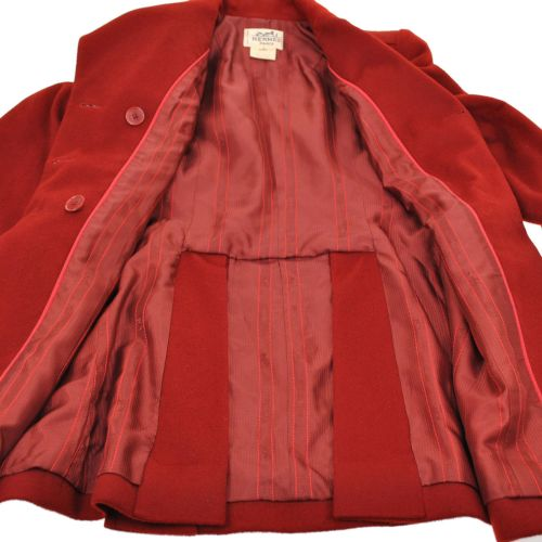 HERMES Logos Button Jacket Coat Red 100% Cashmere #36