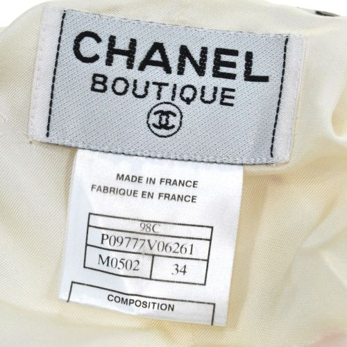 CHANEL CC Short Sleeve One Piece White Acetate Rayon #34 98C