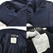 CHANEL CC Logos Setup Suit Jacket Skirt Navy 100% Wool #40