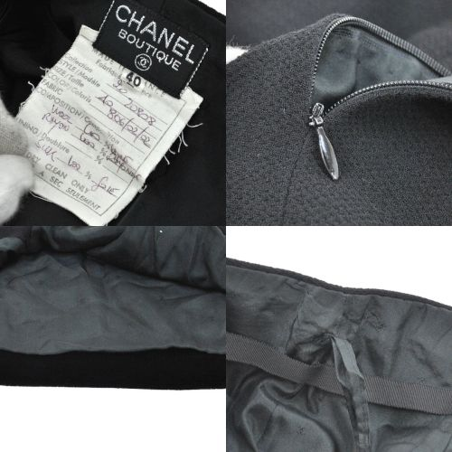 CHANEL CC Button Setup Jacket Skirt Suits Wool Rayon Black #40