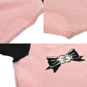 CHANEL CC Logos Sweater Tops Pink Black 100% Cashmere #42