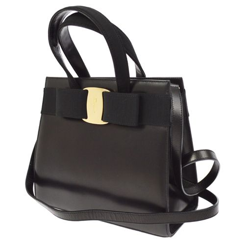 Salvatore Ferragamo Vara Bow 2way Hand Bag Black
