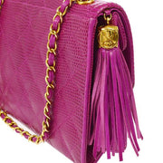 CHANEL Quilted Fringe CC Chain Shoulder Bag Pink Lizard