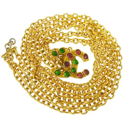 CHANEL CC Logos Stones Motif Gold Chain Belt Gold