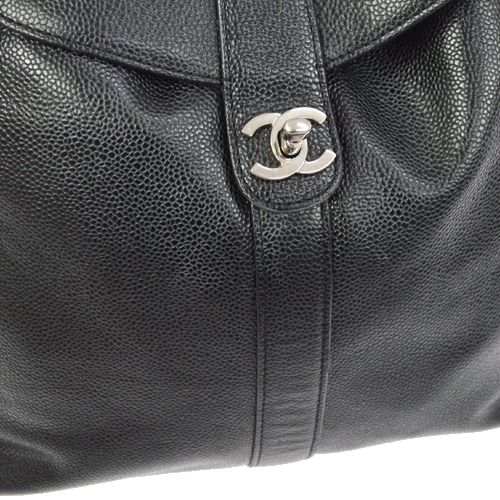 CHANEL CC Logos Backpack Bag Caviar Skin Black