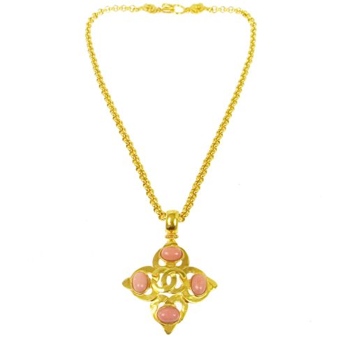 CHANEL CC Logos Stone Motif Necklace Gold 97P