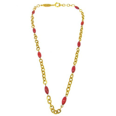 CHANEL CC Logos Stone Motif Necklace Gold 95P