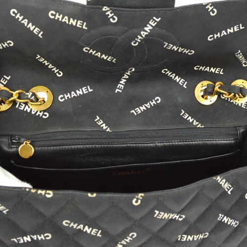 CHANEL Quilted Classic Flap Maxi Shoulder Bag Canvas Black