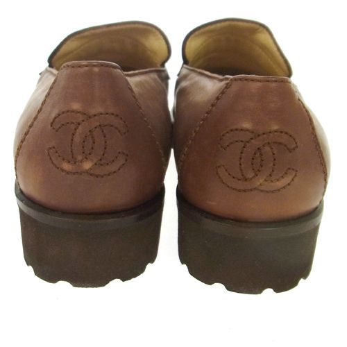 CHANEL CC Logos Loafer Leather Brown