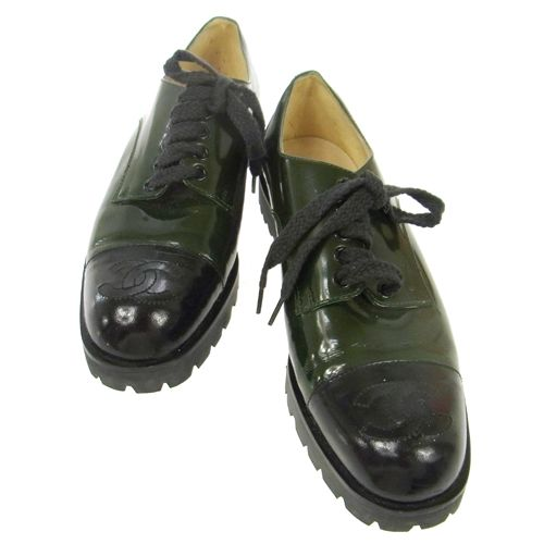 CHANEL CC Logos Oxford Shoes Patent Leather Green
