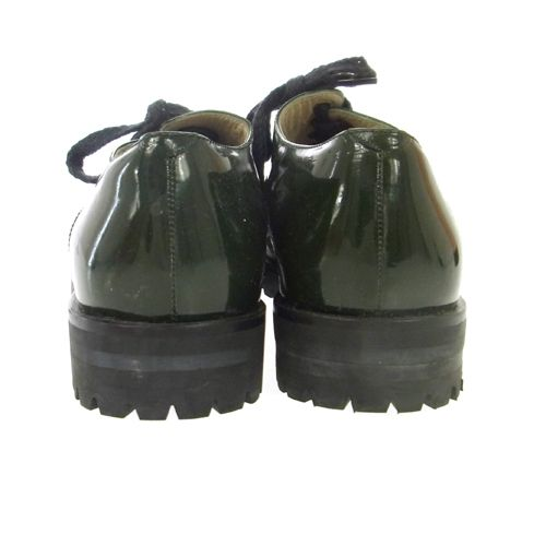 CHANEL CC Logos Oxford #38 Shoes Patent Leather Green