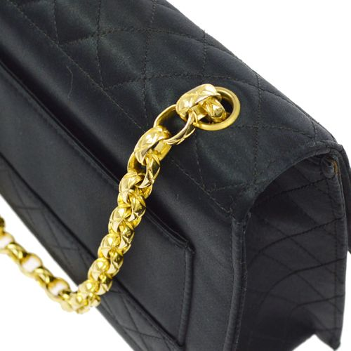CHANEL Quilted CC Logos Chain Shoulder Bag Satin Black