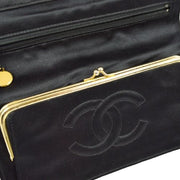 CHANEL Quilted CC Logos Clutch Bag Satin Black